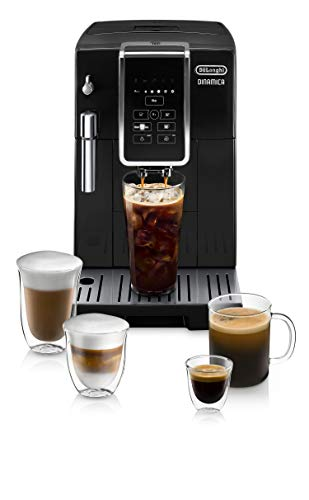 De'Longhi Dinamica Automatic Coffee & Espresso Machine, TrueBrew (Iced-Coffee), Burr Grinder + Descaling Solution, Cleaning Brush & Bean Shaped Icecube Tray, Black, ECAM35020B
