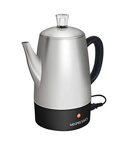 Mixpresso Electric Coffee Percolator   Stainless Steel Coffee Maker   Percolator Electric Pot - 10 Cups Stainless Steel Percolator With Coffee Basket