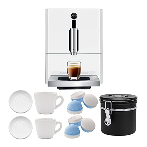 Jura A1 Automatic Coffee Machine (Piano White) with 2 Cup and Saucer Sets, Cleaning Tablets & Coffee Canister Bundle (5 Items)