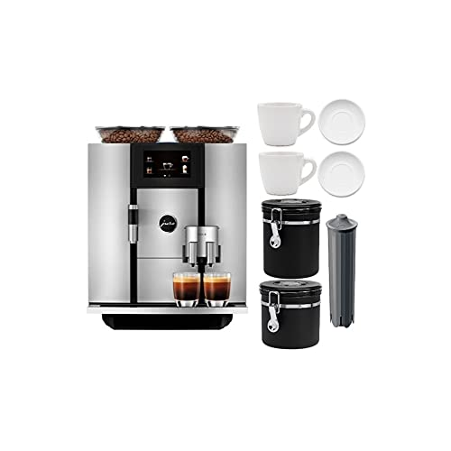 Jura Giga 6 Automatic Coffee Machine with P.E.P. (Silver) with 2 Cup and Saucer Sets, Filter, Large and Small Canisters Bundle (6 Items)