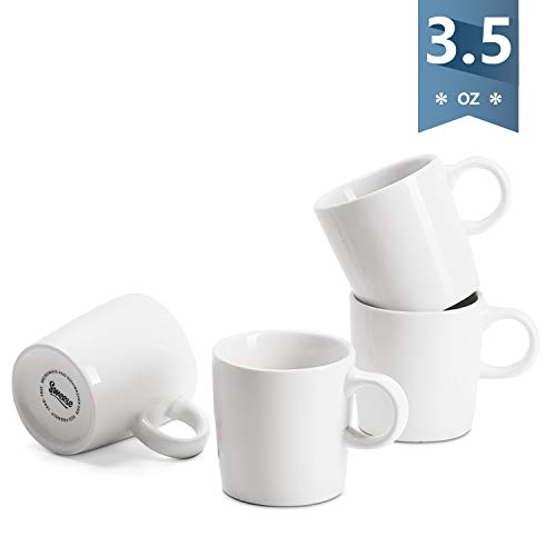 Sweese 409.101 Porcelain Espresso Cups - 3.5 Ounce - Set of 4, White