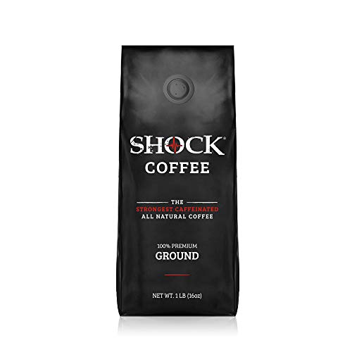 Shock Coffee Ground, The Strongest Caffeinated All-Natural Coffee. Up to 50% more Caffeine. 1 pound