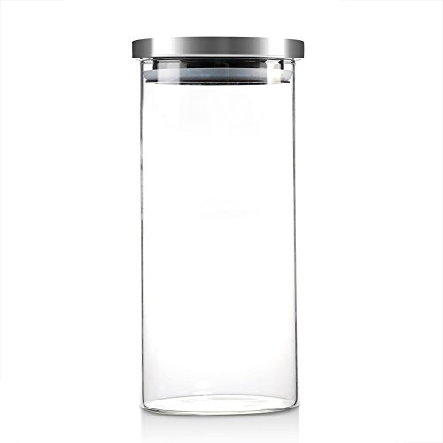 Bewinner Glass Coffee Bean Container, 1000ML Glass Storage Jar Coffee Beans Kitchen Food Container with Stainless Steel Lid for Use Storing Cookies, Sugar, Flour, Spices, Coffee(1000ML)