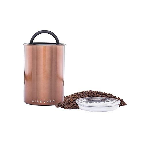 Airscape Coffee and Food Storage Canister - Patented Airtight Lid Preserve Food Freshness with Two Way Valve, Stainless Steel Food Container, Medium 7-Inch Can, Mocha Brown