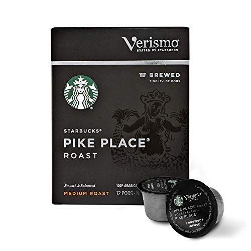 Starbucks Medium Roast Verismo Coffee Pods — Pike Place Roast for Verismo Brewers, 12 Count (Pack of 6)