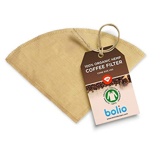 Organic Hemp Cone Coffee Filter Reusable and Great for Making Smooth Natural Tasting Pour Over Coffee Eco-Friendly Bacteria Resistant Material by Bolio (1, No.2 (V60))