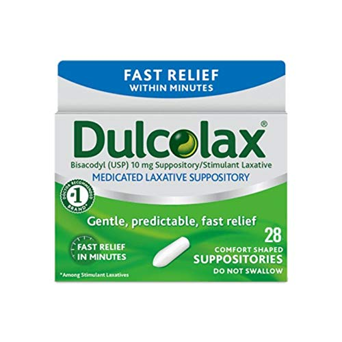 Dulcolax Laxative Suppositories, 28 Count, Fast, Reliable, and Gentle Relief from Constipation and Hard, Dry, Comfort Shaped Medicated Suppositories (Packaging May Vary)