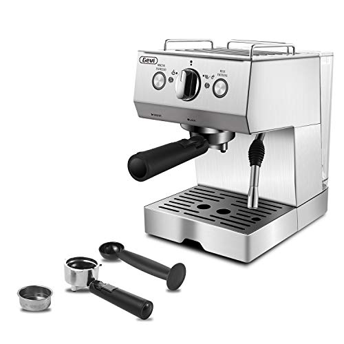 Espresso Machine 15 Bar with Milk Frother, Expresso Coffee Machine for Espresso, Latte and Mocha, 1.5L Removable Water Tank and Double Temperature Control System, Classial, Sliver, 1050W