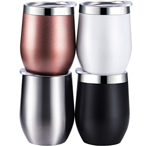Skylety 4 Pack 12 Oz Unbreakable Triple-Insulated Stemless Wine Tumbler, Stainless Steel Wine Glass Cup with Lids, Drink-ware Glasses for Wine, Coffee, Champagne, Cocktails and Beer (Multi-color)