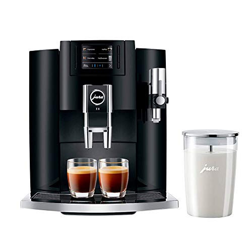 Jura E8 15270 Automatic Coffee Center Black with Glass Milk Container Bundle (2 Items)