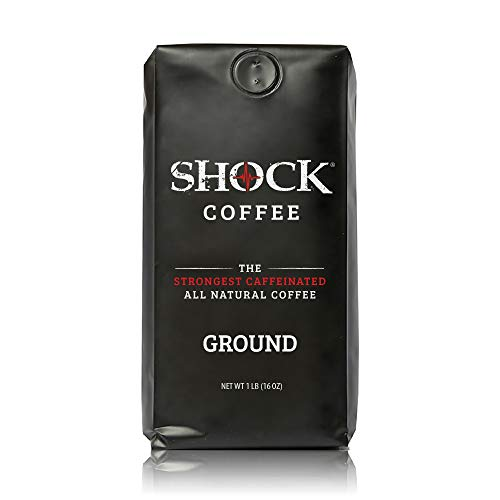 Shock Coffee Ground. The Strongest Caffeinated All Natural Coffee, Up to 50% more Caffeine than Regular Coffee, 1 pound