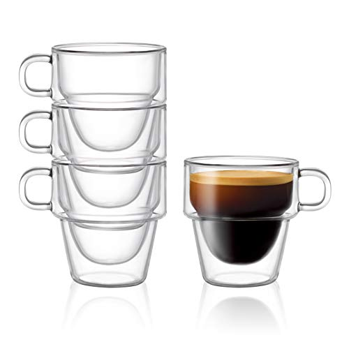 Stoiva Double Wall Insulated Espresso Glass Cups – 5 oz. (150 ml) Espresso Shot Glass Cup with Handle – Stackable Thermal Clear Glass Cups, Ideal Fit for Espresso Machine and Coffee Maker – Set of 4