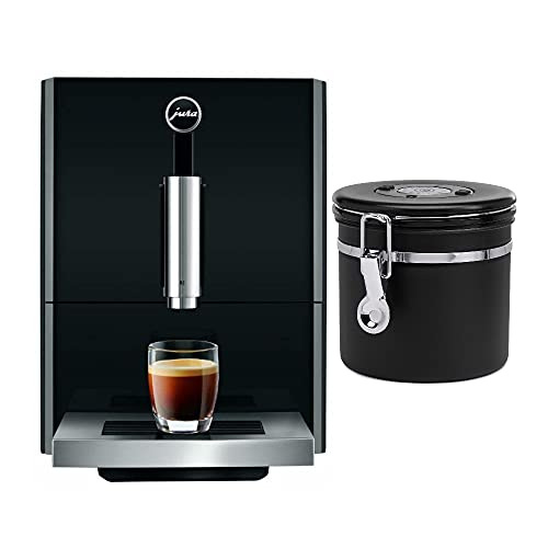 Jura A1 Automatic Coffee Machine (Piano Black) with 8.8 Oz. Stainless Steel Coffee Canister Bundle (2 Items)