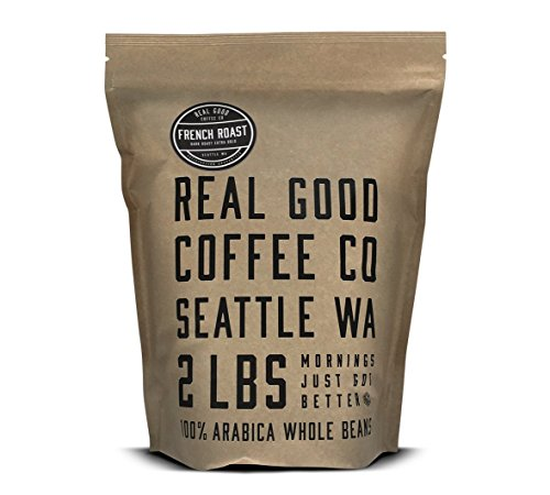 Real Good Coffee Co Whole Bean Coffee, French Roast Extra Dark Coffee Beans, 2 Pound Bag