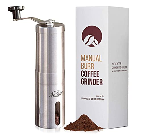 JavaPresse Manual Coffee Grinder with Adjustable Settings - Patented Conical Burr Mill & Brushed Stainless Steel Whole Bean Burr Coffee Grinder for Aeropress, Drip Coffee, Espresso, French Press
