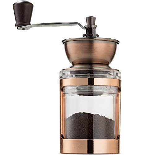 MITBAK Manual Coffee Grinder With Adjustable Settings| Sleek Hand Coffee Bean Burr Mill Great for French Press, Turkish, Espresso & More | Premium Coffee Gadgets are an Excellent Coffee Lover Gift Idea