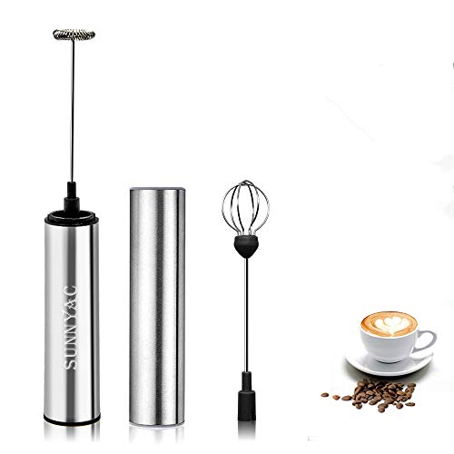 Sunnyac USB Rechargeable Milk Frother Handheld, Portable Electric Coffee Foam Maker Blender with Egg Whisk, Stainless Steel Drink Mixer Foamer for Cappuccino, Latte, Hot Chocolate and Matcha