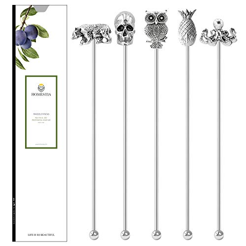 Homestia Stainless Steel Coffee Stirrers Beverage Stir Sticks Coffee Swizzle Sticks Metal Head Top(Tropical)