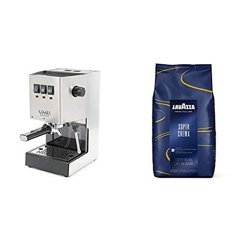 Gaggia RI9380/46 Classic Pro Espresso Machine, Solid, Brushed Stainless Steel & Lavazza Super Crema Whole Bean Coffee Blend, Medium Espresso Roast, 2.2 Pound (Pack of 1)