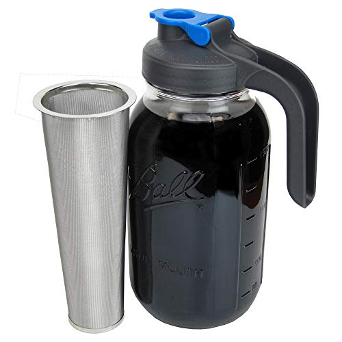 County Line Kitchen - Cold Brew Mason Jar Coffee Maker, Durable Glass, Heavy Duty Stainless Steel Filter, Flip Cap Lid - 64 oz, 2 Quart with Handle