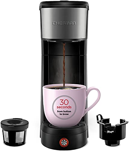 CHEFMAN Single Serve One Cup Coffee Maker, up to 14 Oz, InstaCoffee Brews in 30 Seconds, Compatible with K Cup Pods, Grounds & Loose-Leaf Tea, Reusable Filter, Black/Stainless Steel (Mug Not Included)