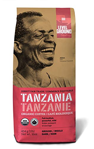 Level Ground Coffee, Certified Organic & Fair Trade, Pack of 2, Tanzania Dark Roast, Ground, 1lb