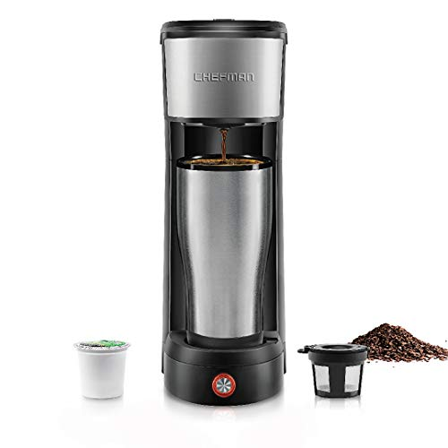 Chefman InstaCoffee Single Serve Coffee Maker Brews in 30 Seconds Compatible with K-Cup Pods, Grounds & Loose-Leaf Tea w/Reusable Filter, Compact 14 oz, Black/Stainless Steel, Mug Not Included