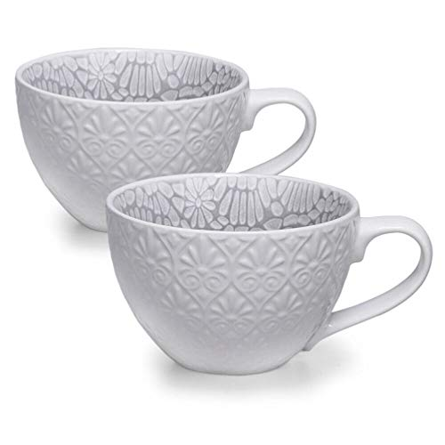 Up Pod Espresso Cups, 12 Ounce Demitasse Cups, Cappuccino, Latte and Tea - Set of 2 White