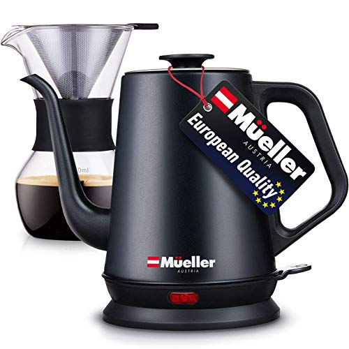 Mueller Coffee Serving SetElectricGooseneckKettle with Pour Over Drip Set Coffee Maker, Stainless Steel Coffee Servers Kettle & Tea Kettle, Matte
