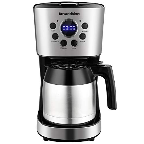 Programmable Coffee Maker 10 Cup, Compact Coffee Machine with 50 oz Thermal Carafe Coffee Pot, Brew Strength Control, Mid-Brew Pause and Anti-Drip Function Stainless Steel Coffee Maker