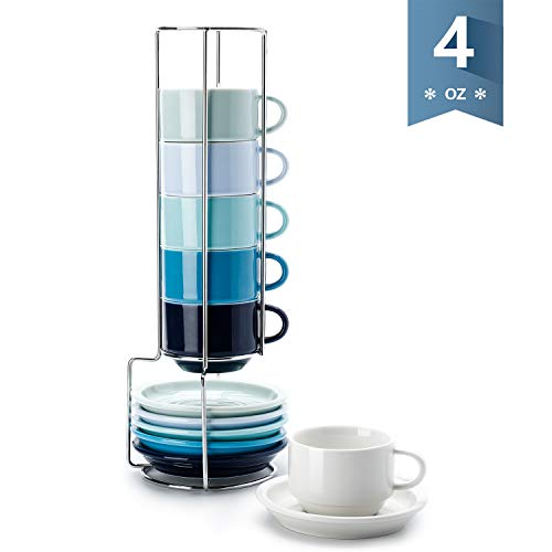 Sweese 405.003 Porcelain Stackable Espresso Cups with Saucers and Metal Stand - 4 Ounce for Specialty Coffee Drinks, Single/Double Espresso, Cappuccino, Latte and Tea - Set of 6, Cool Assorted Colors