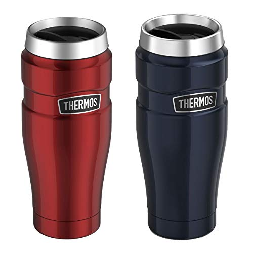 Genuine Thermos Brand Stainless King Vacuum Insulated Stainless Steel Travel Tumbler 16oz Pair (Cranberry and Midnight Blue)