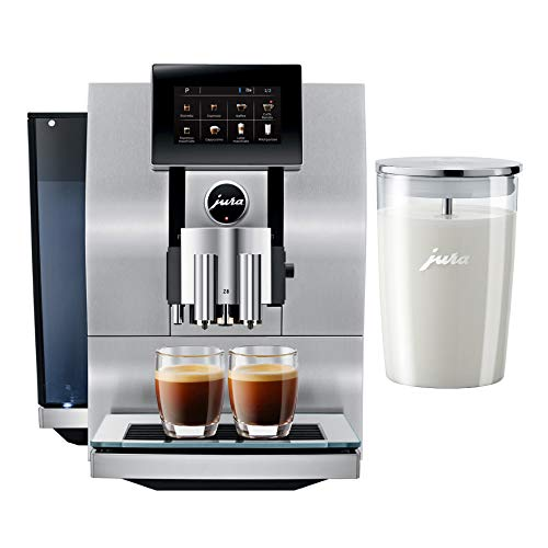 Jura Z8 Automatic One-Touch P.E.P. Coffee Machine with Touch Screen Display and Glass Milk Container Bundle (2 Items)