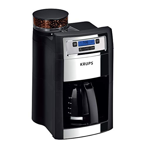KRUPS Grind and Brew Auto-Start Maker with Builtin Burr Coffee Grinder, 10-Cups, Black