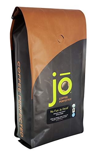 NO FUN JO DECAF: 2 lb, Organic Decaf Coffee, Whole Bean, Swiss Water Process, Fair Trade Certified, Medium Dark Roast, 100% Arabica Coffee, Certified Organic, Chemical Free Gluten Free, Decaf Espresso