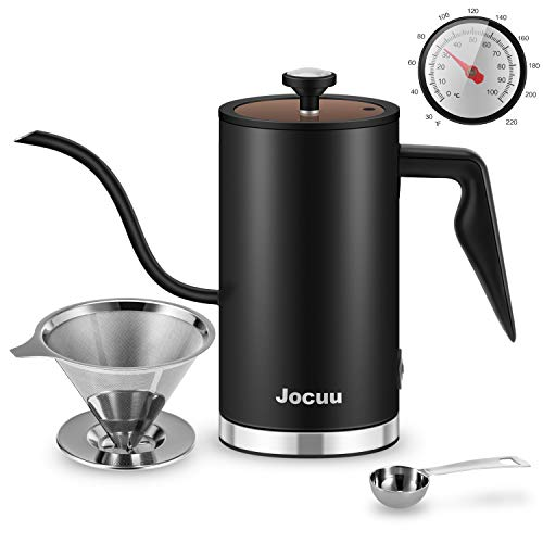 Gooseneck Kettle Electric, Jocuu Electric Coffee Kettle Tea kettle with Thermometer, Electric Kettle Pour Over Kettle for Boiling Water Coffee & Tea Brewing BPA Free, 17Oz/0.5L, Matt Black