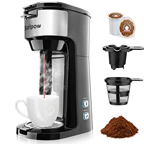 Single Serve Coffee Maker for K-Cup Pod & Ground Coffee, Small Size Coffee Machine,Fast brewing,Strength Control and Self Cleaning Function