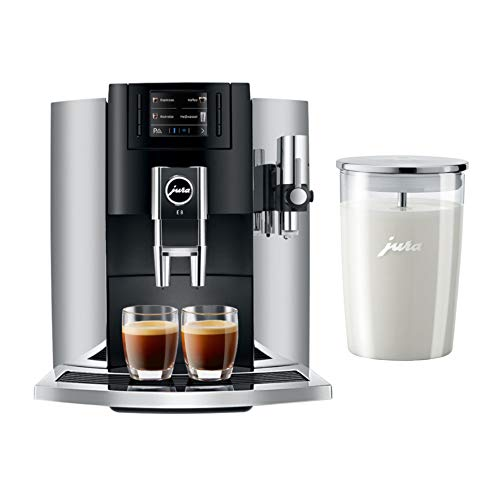 Jura E8 15271 Automatic Coffee Center, Chrome Includes Glass Milk Container Bundle (2 Items)