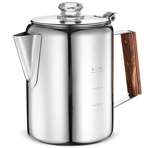 Eurolux Percolator Coffee Maker Pot - 9 Cups | Durable Stainless Steel Material | Brew Coffee On Fire, Grill or Stovetop | No Electricity, No Bad Plastic Taste | Ideal for Home, Camping & Travel
