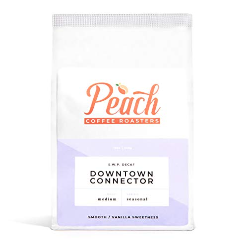 Peach Coffee Roasters - Medium Roast - Downtown Connector, Organic Swiss Water Process Decaf - Fair Trade Whole Coffee Beans - Seasonal - 12 oz.