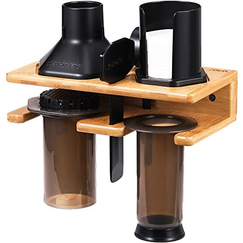 Space Saving Organizer Wall Mount for Aeropress set, Polished Bamboo