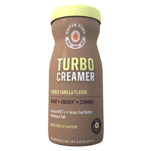Rapid fire Turbo Creamer, French Vanilla Flavor with Shot of Caffeine, Coconut MCTs, Grass Fed Butter, Himalayan Pink Salt, 8.8 oz., 20 Servings