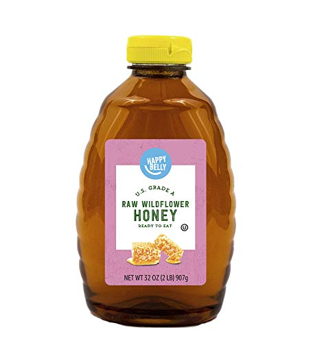 Amazon Brand - Happy Belly Raw Wildflower Honey, 32 oz (Previously Solimo) (Packaging May Vary)