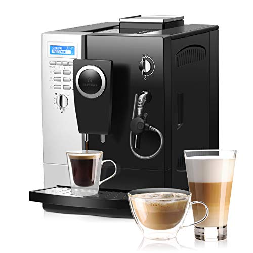 COSTWAY Super Automatic Espresso Machine, All-In-One Design, 19 Bar Pump, Built-In Milk Frother & Steamer, Stainless Steel Removable Water Tank and Drip Tray, Frothing for Cappuccino and Latte,...