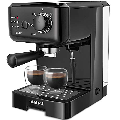 ELEHOT Espresso Machine Coffee Makers with 15 Bar Pump and Milk Frother (Black)
