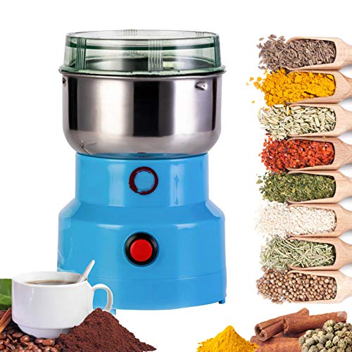 Multifunction Smash Machine,Coffee Bean Grinder, Electric Cereals Grain Grinder, Mill Spice Herb Grinding Machine Tool,Household Small Grinder,for Nut Coffee Bean Spice Grinding Blue and Silver (Blue)