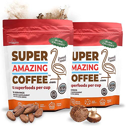 Super Amazing Coffee Ultimate Weight Loss, Brain Boost, French Roast Instant Coffee with Cocoa, 12 Natural Superfoods, Gluten Free, Non-GMO, Sugar Free, Vegan & Keto Friendly, 60 Day Supply, 60Drinks