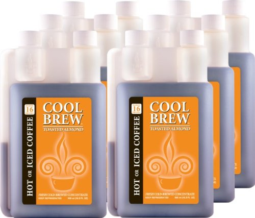 Cool Brew Fresh Coffee Concentrate - Toasted Almond 6x500ml- Make Iced Coffee or Hot Coffee - Enough for 100 drinks