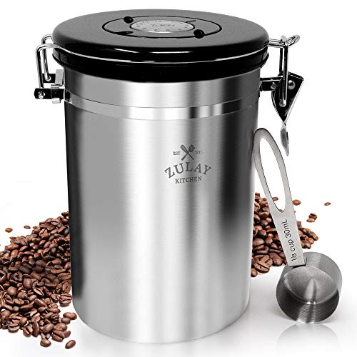 Coffee Boss Coffee Canister, Large Stainless Steel Coffee Bean Storage Container (64floz), Ground Coffee Container Airtight Lid, CO2 Valve & Free Scoop, Best Storage for Fresh Coffee Beans - by Zulay