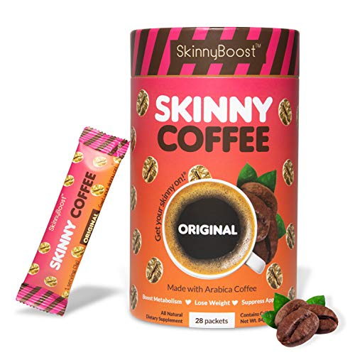 Skinny Boost Skinny Coffee- Instant Coffee Blend for Weight Loss, Slimming & Detox Made with premium Arabica Coffee- Boost Metabolism, Curb Appetite, Lose Weight Gluten Free/Keto Friendly. (28 Packets)